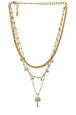 Ettika Layered Palm Tree Necklace in Gold