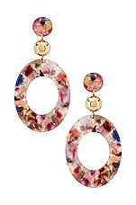 Ettika Rainbow Resin Drop Earrings in Rainbow & Gold