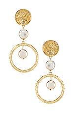 Ettika Coin & Pearl Drop Earring in Gold