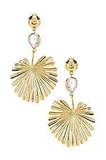 Ettika Palm Leaf Earring in Gold