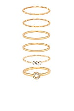 Ettika Ring Set of 6 in Clear & Gold