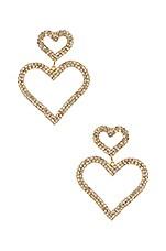 Ettika Double Heart Earrings in Gold