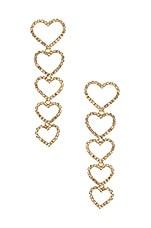 Ettika Drop Heart Earrings in Gold