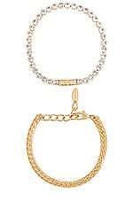 Ettika CZ Link Bracelet Set in Gold