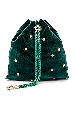 Ettika Velvet Crossbody Bag in Emerald