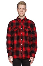 Chuy Flannel Shirt Jacket in Red Plaid