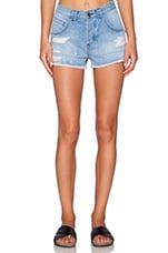 Mason Patched Short in Distressed Light Blue