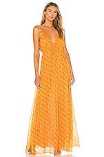 eywasouls malibu Harriet Dress in Orange & Blue Pixels