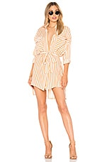 FAITHFULL THE BRAND Debbie Shirt Dress in Zeus Stripe Print Vintage Peach