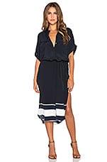 FAITHFULL THE BRAND Gigi Americana Stripe Border Shirt Dress in Navy & White