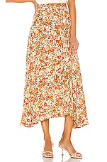 FAITHFULL THE BRAND Asiya Skirt in Apricot Le Rose Floral