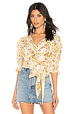 FAITHFULL THE BRAND Mali Wrap Top in Off White Goldie Floral