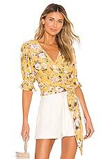 FAITHFULL THE BRAND Mali Wrap Top in Jasmin Yellow Pomeline Floral