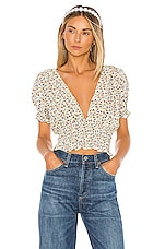 FAITHFULL THE BRAND First Light Top in Off White & Chestnut Aurelia Floral