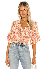 FAITHFULL THE BRAND Gisela Top in Dusty Floral Orange