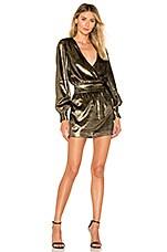 FRAME Metallic Velvet Dress in Gold