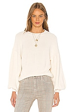 FRAME Chunky Balloon Sleeve Sweater in Off White