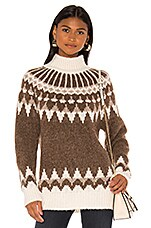 FRAME Fairisle Turtleneck in Chocolate Multi
