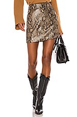 FRAME Embossed Leather Skirt in Brown Multi