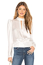 FRAME Satin Keyhole Top in Off White