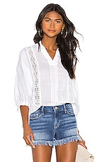 FRAME Cali Lace Popover Top in Blanc