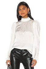 FRAME Lace Cuff Top in Off White
