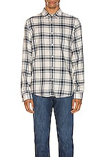 FRAME Long Sleeve Single Pocket Shirt in Tile Blue Multi