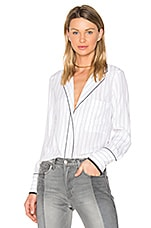 PJ Blouse in Blanc & Navy Pinstripe