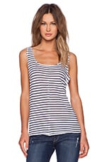 FRAME Denim Le Muscle Tank in White & NavyStripe