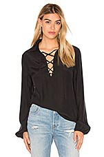 Le Lace Up Blouse en Noir