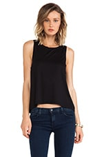Doe Slit Back Tank in Black