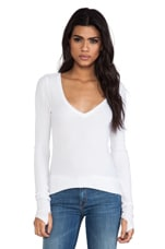 Viper Thermal V Neck with Thumb Holes in White