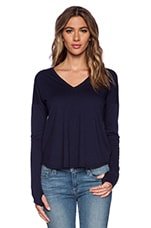 Cameron V Neck Top in Navy