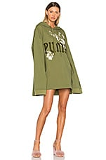 Graphic Embroidered Hoodie in Olive Branch