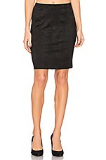 Faux Suede Pencil Skirt in Black
