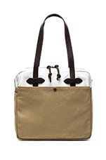 Filson Canvas Zip Top Tote Bag in Tan/ White