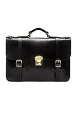 Leather Field Satchel in Black