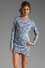 Finders Keepers Dream People Long Sleeve Dress in Sharrered Geo Denim