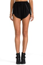 x REVOLVE Firehouse Leather Trim Shorts in Black