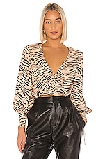 Finders Keepers Romy Blouse in Tan Tiger