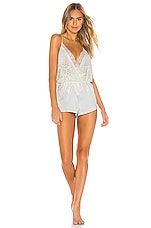 Flora Nikrooz Genevive Romper With Lace in Ice Flow