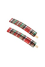 France Luxe Mod Bobby Pin Pair in Tartan Plaid Red & Green