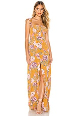 FLYNN SKYE Bardot Maxi Dress in Golden Hour