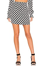 FLYNN SKYE Suzie Mini Skirt in Black & White Checkerboard