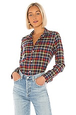 Frank & Eileen Barry Button Down in Heather Grey, Red, Yellow & Blue Plaid