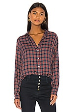 Frank & Eileen Eileen Button Down in Small Red, Navy & Green Plaid