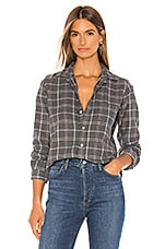 Frank & Eileen Barry Button Down in Charcoal Grey, Blue & Taupe Plaid