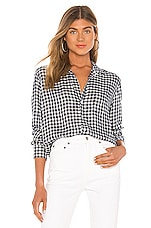 Frank & Eileen Long Sleeve Button Down Top in Small Navy & Light Blue Plaid