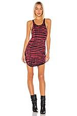 Frankie B Shea Tank Mini Dress in Red & Black Tie Dye