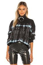 Frankie B Claudette Ring Mock Neck Sweatshirt in Black & Teal Link